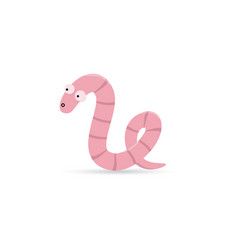 Cute funny worm with emotion on his face vector