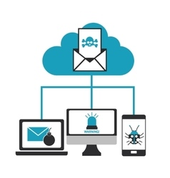 Cyber security system cloud design vector