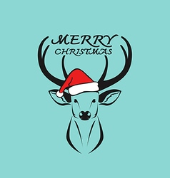 Deer merry christmas vector
