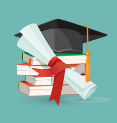 Degree scroll pile books and black graduation vector