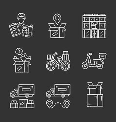 delivery chalk icons set parcel tracking post vector image
