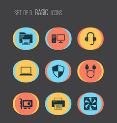 Device icons set with printer video card adapter vector
