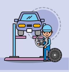 employee repairing car service steering wheel vector image