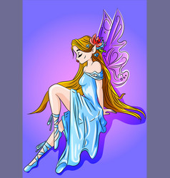 fairy in a blue dress vector image