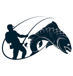 fisherman silhouette and fish vector image