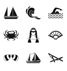Fishing from a boat icons set simple style vector