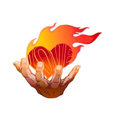 flaming heart in her hand vector image