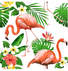 Flamingo bird and tropical flowers vector