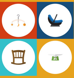 Flat icon infant set of infant cot pram children vector