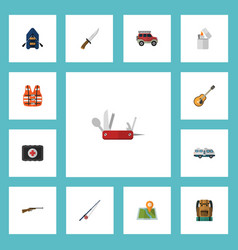 Flat icons bag fishing music and other vector