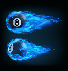 flying black billiard eight ball in blue fire vector image