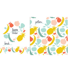 fruit label template pattern and brush vector image