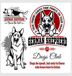 German shepherd - set for t-shirt logo and vector