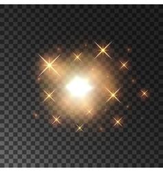 Glittering golden star light sparks vector