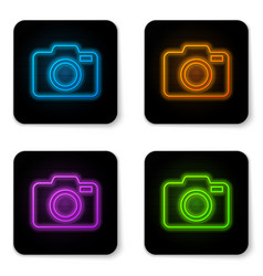 glowing neon photo camera icon isolated on white vector image