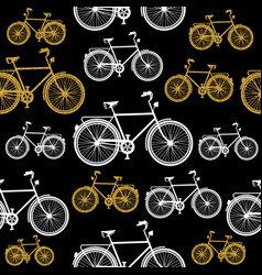 gold glitter bicycle symbol seamless pattern vector image