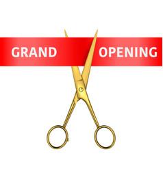Grand opening banner 3d realistic golden vector
