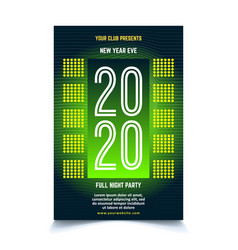 green neon new year poster template vector image