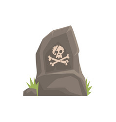 grey tombstone with skull and bones vector image vector image