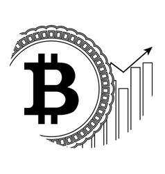 growth price bitcoin icon linear vector image