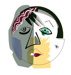 hand drawing girl face in cubism style vector image