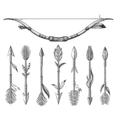 hand drawn native americans arrows and bow set vector image