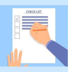 hand filling checklist on a desk vector image