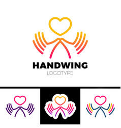 Heart in hand symbol sign icon logo template for vector