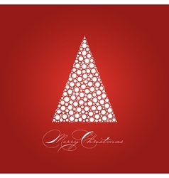 Holiday card with white Christmas tree on red vector