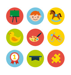 icons set kinder garten vector image