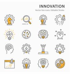 innovation flat line icon set vector image