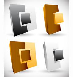 Interlocking squares angular icons logos vector