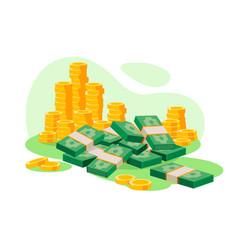 isometric 3d golden coins cash wads money vector image