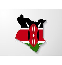 Kenya country map with shadow effect presentation vector image