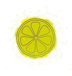 Lemon with splash vector