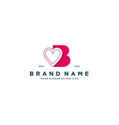 Letter b heart logo icon design vector