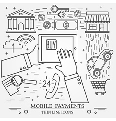 Mobile payments using a tablet computer tablet pc vector image