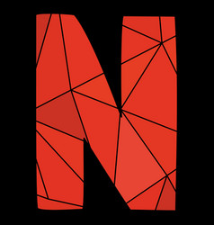 N red alphabet letter isolated on black background vector