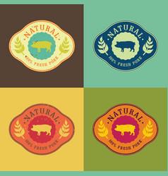 Natural fresh pork food set vector
