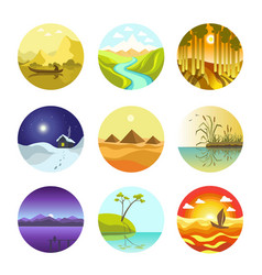 Natural landscapes circular logo icons vector