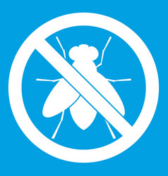 No fly sign icon white vector
