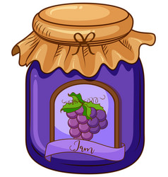 One jar grape jam on white background vector