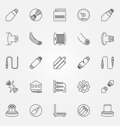optical fiber outline icons set fiber vector image