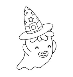 Outline funny ghost character with hat style vector