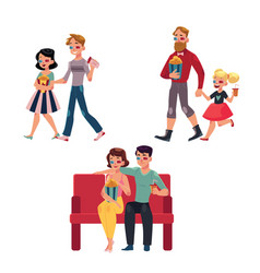 people go to cinema movie with popcorn drinks vector image