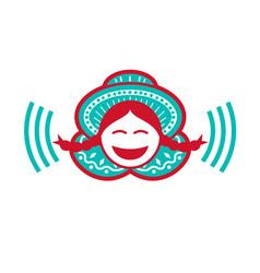 Peruvian girl smiling voice icon vector