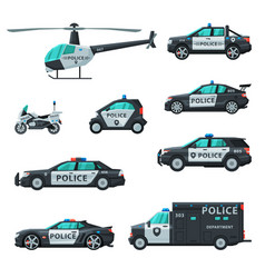 police vehicles collection various emergency vector image
