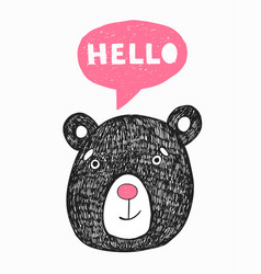 poster with hand drawn funny bear vector image