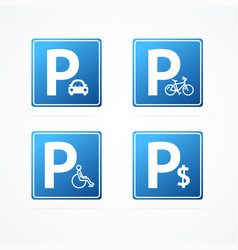 Realistic detailed 3d different parking signs set vector