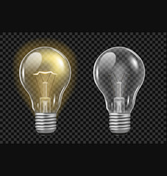 realistic light bulb on transparent glowing and vector image